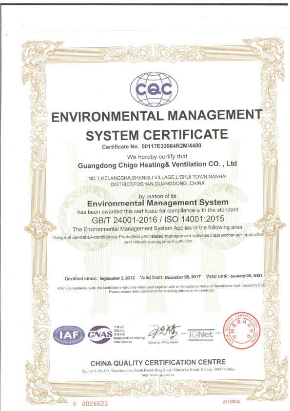 Certificate ISO14001-environmental-management system certificate 2018